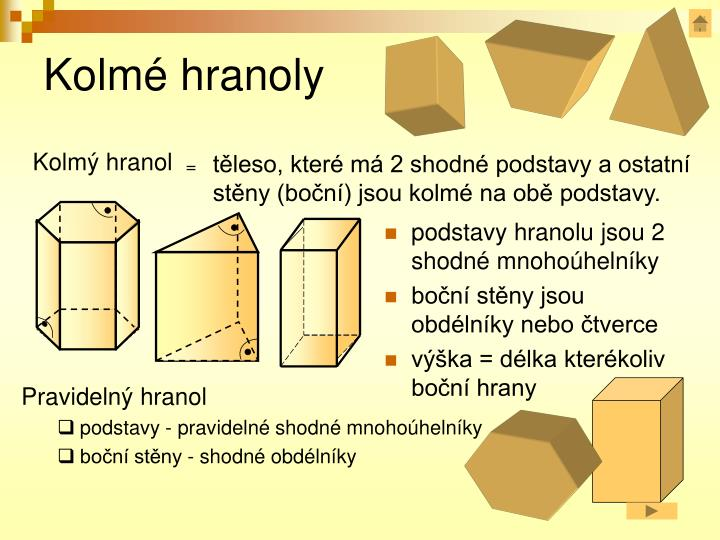 podstavy hranolu jsou 2 shodné mnohoúhelníky