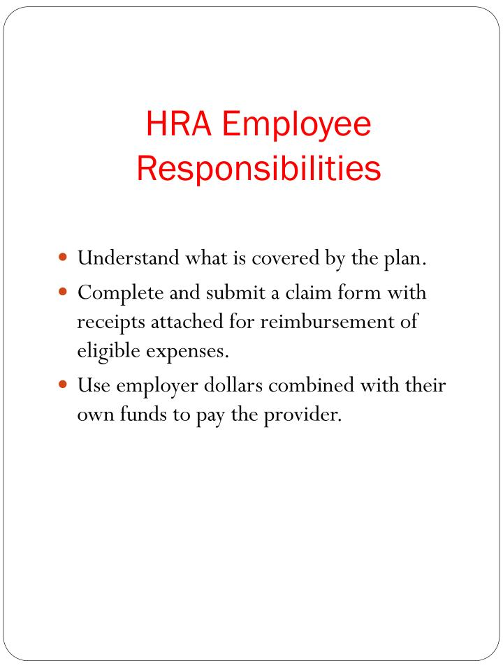 HRA Employee Responsibilities