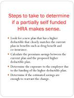steps to take to determine if a partially self funded hra makes sense