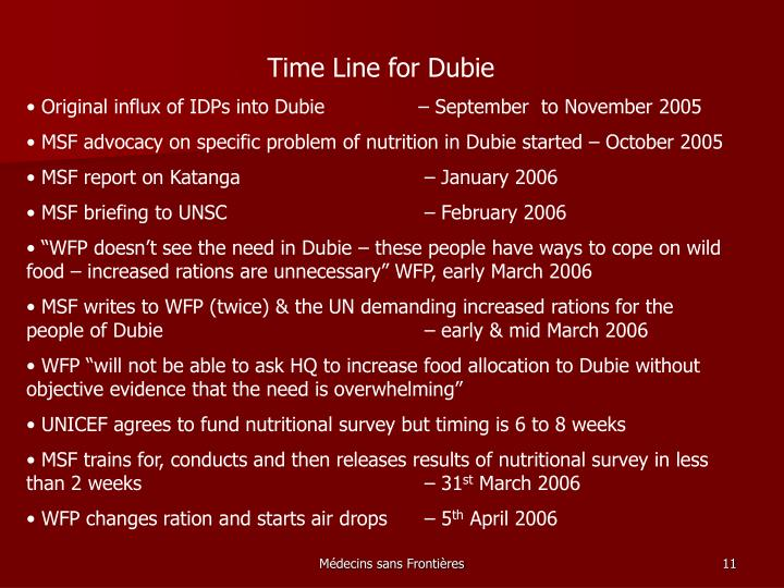 Time Line for Dubie