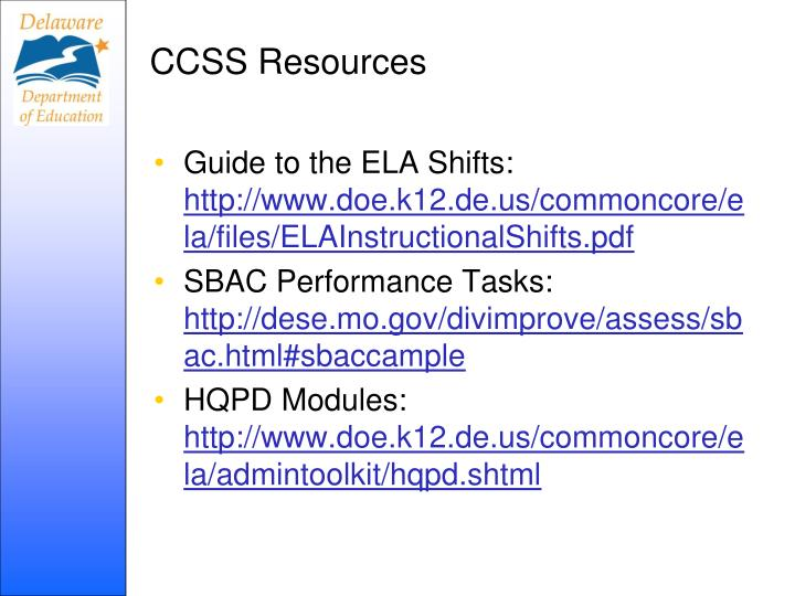 CCSS Resources