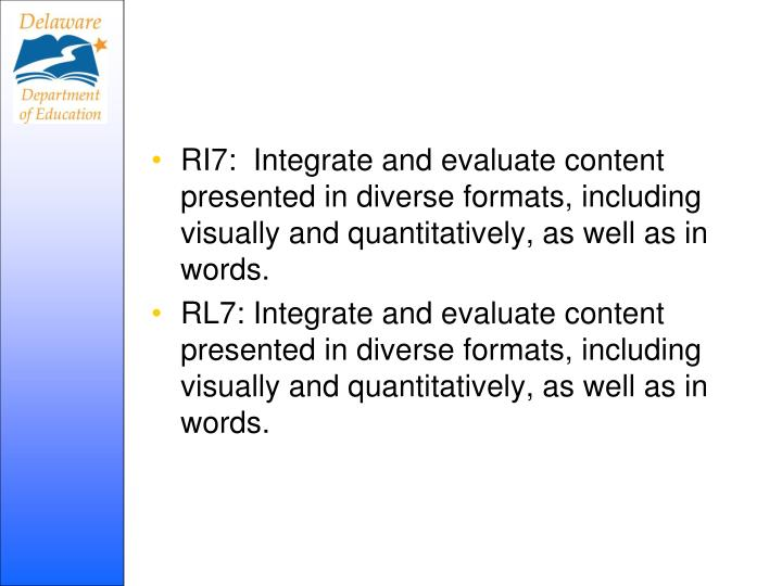 RI7:  Integrate and evaluate content presented in diverse formats, including visually and quantitatively, as well as in words.