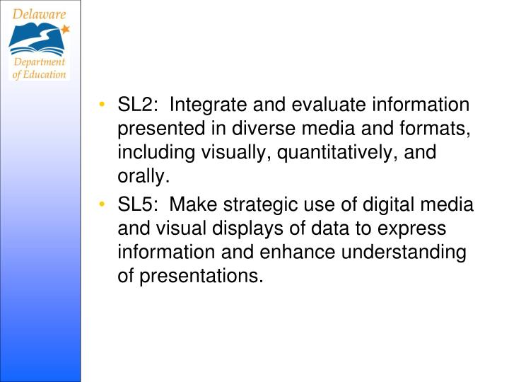 SL2:  Integrate and evaluate information presented in diverse media and formats, including visually, quantitatively, and orally.