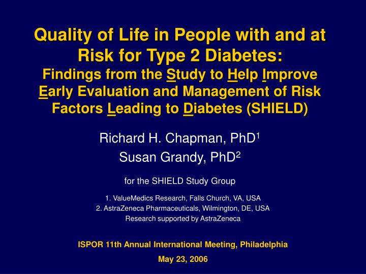 Quality of Life in People with and at Risk for Type 2 Diabetes: