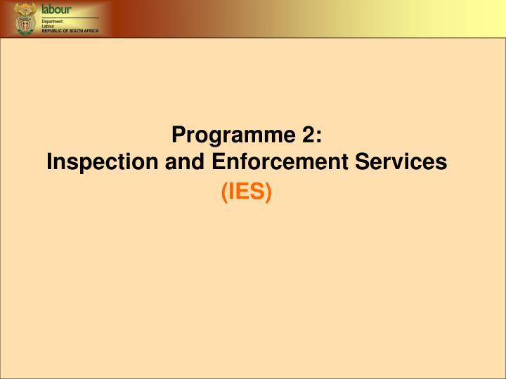 Programme 2:
