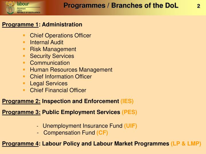 Programmes / Branches of the DoL