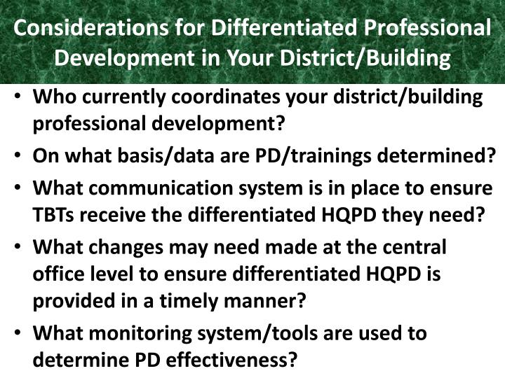 Considerations for Differentiated Professional Development in Your District/Building