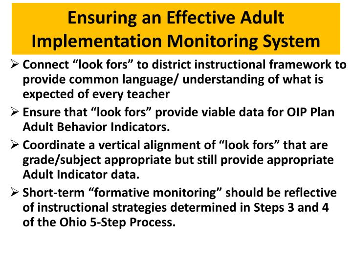 Ensuring an Effective Adult Implementation Monitoring System