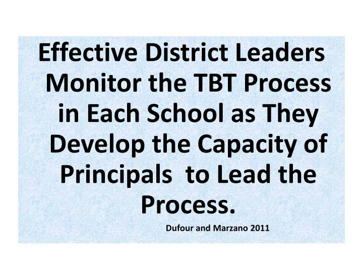 Effective District Leaders Monitor the TBT Process in Each School as They Develop the Capacity of Principals  to Lead the Process.