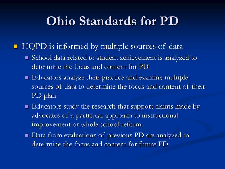 Ohio standards for pd1