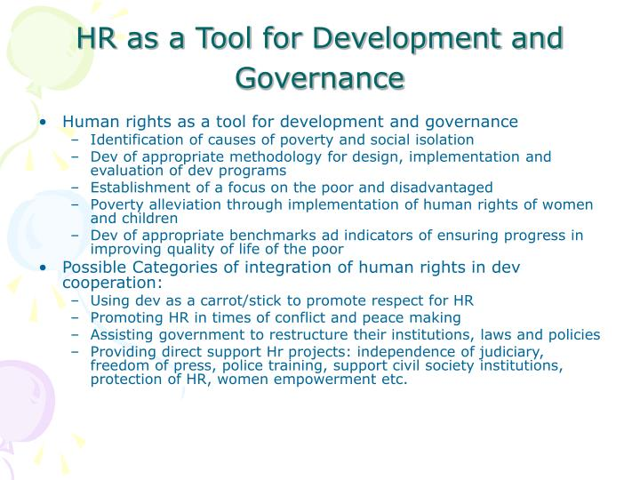 HR as a Tool for Development and Governance