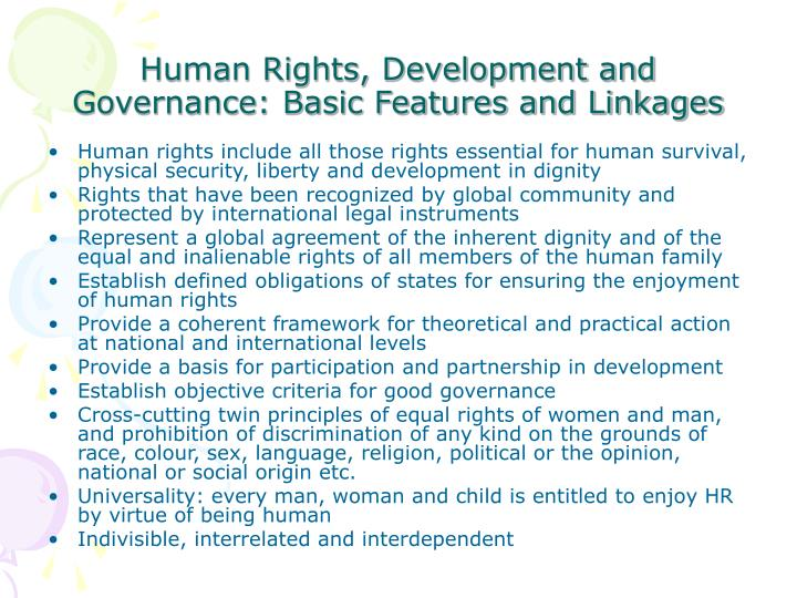 Human rights development and governance basic features and linkages
