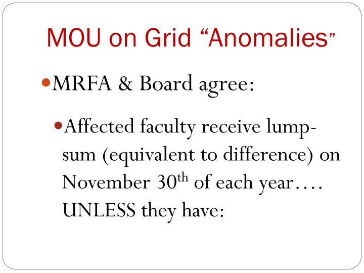 "MOU on Grid ""Anomalies"