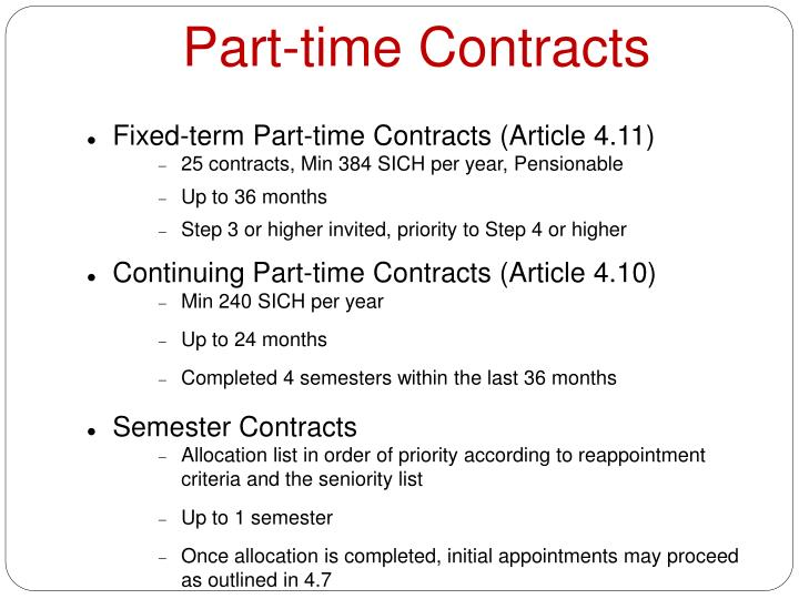 Part-time Contracts