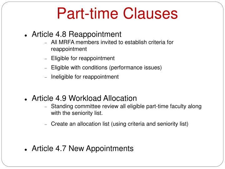 Part-time Clauses