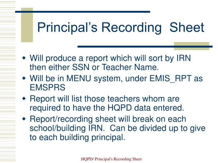 Principal's Recording  Sheet