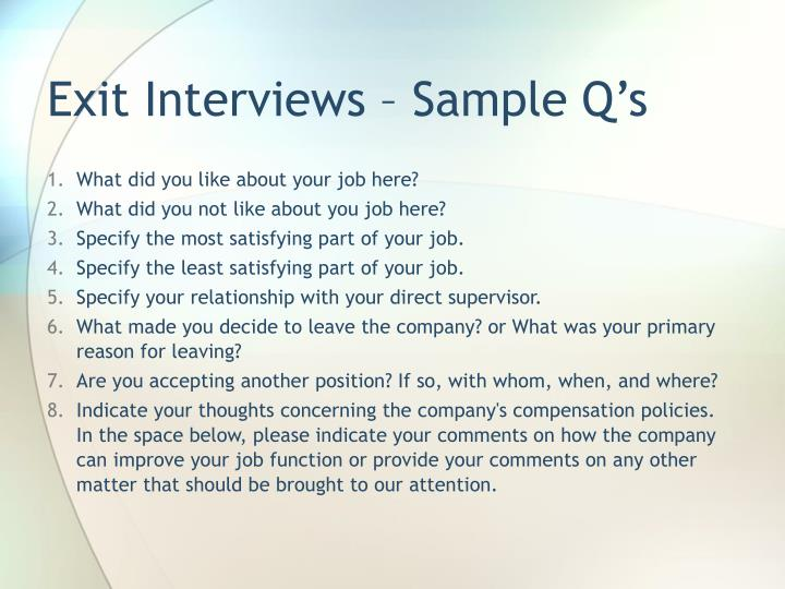 Exit Interviews – Sample Q's