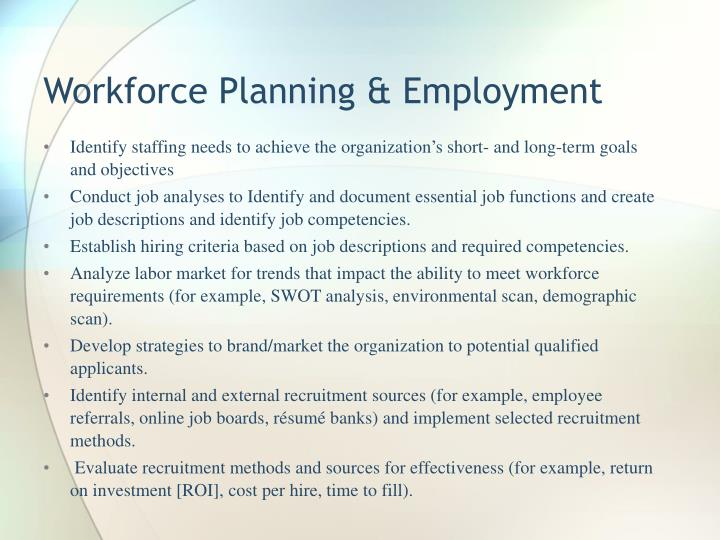 Workforce Planning & Employment