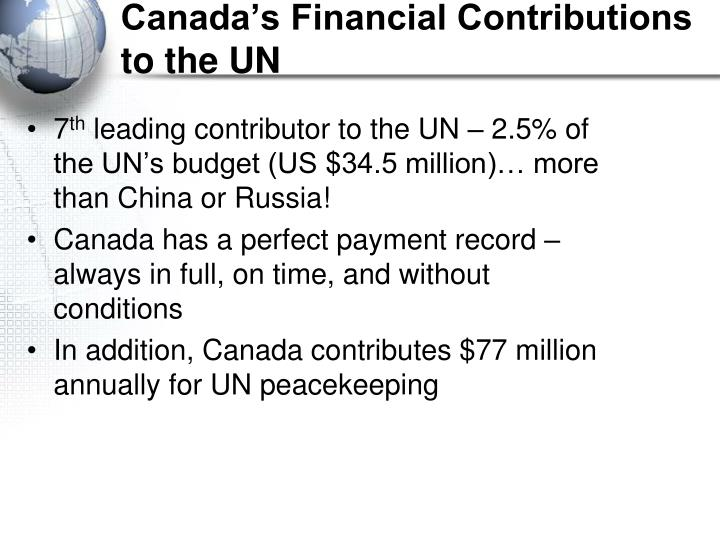 Canada's Financial Contributions to the UN