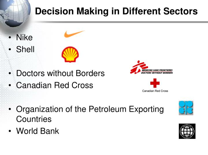 Decision Making in Different Sectors