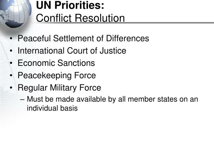 UN Priorities: