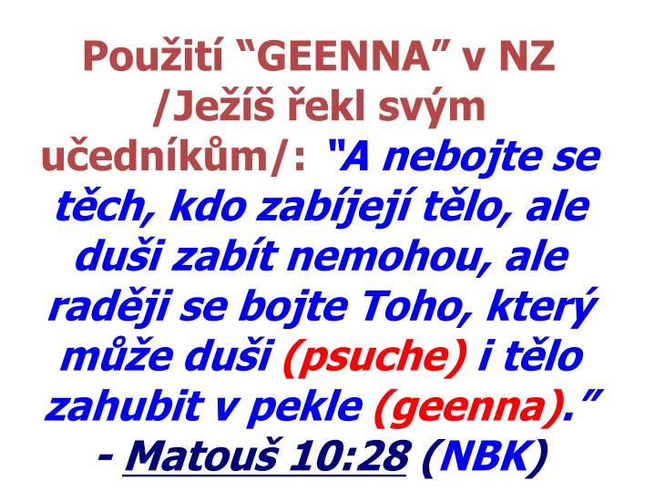 """Použití """"GEENNA"""" v NZ"""