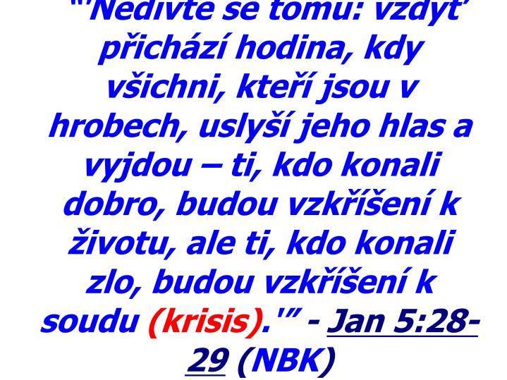 """""""'Nedivte se tomu: vždyť přichází hodina, kdy všichni, kteří jsou v hrobech, uslyší jeho hlas a vyjdou – ti, kdo konali dobro, budou vzkříšení k životu, ale ti, kdo konali zlo, budou vzkříšení k soudu"""