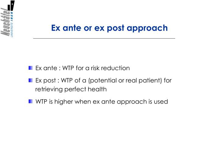 Ex ante or ex post approach