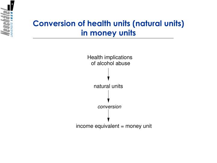Conversion of health units (natural units)