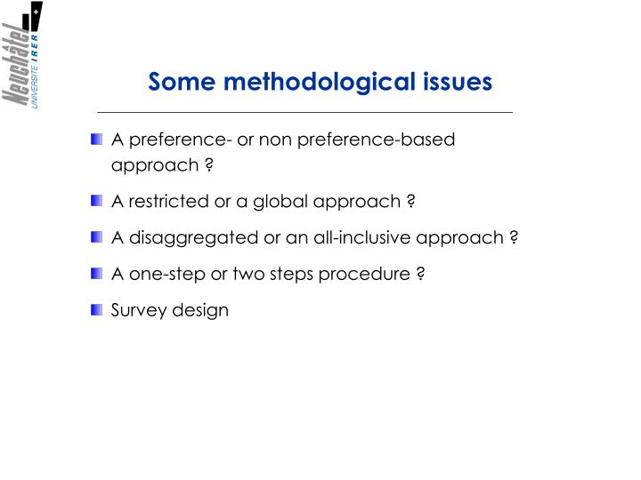 Some methodological issues