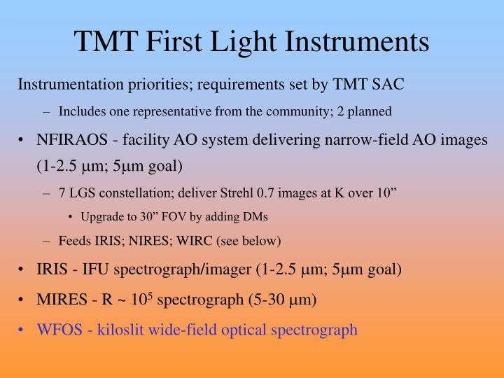 TMT First Light Instruments