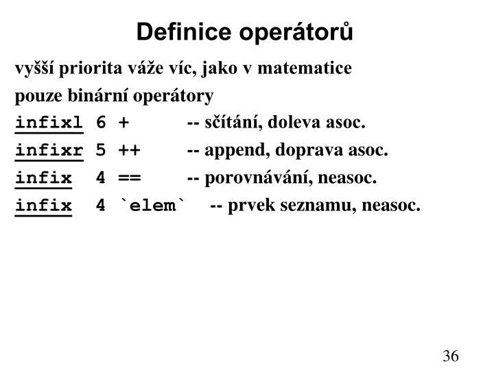 Definice operátorů