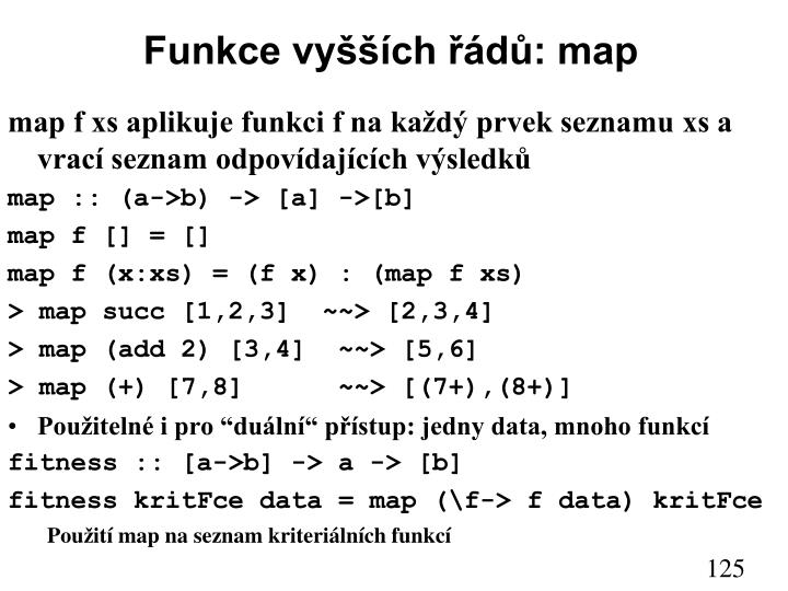 Funkce vyšších řádů: map