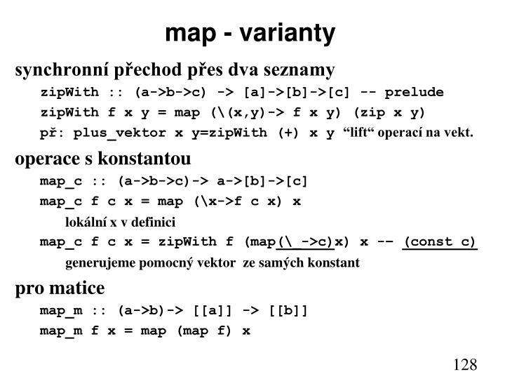 map - varianty