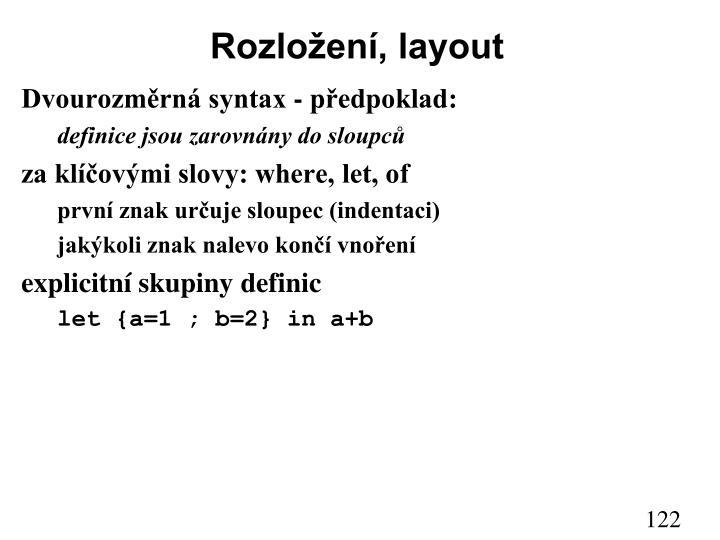 Rozložení, layout