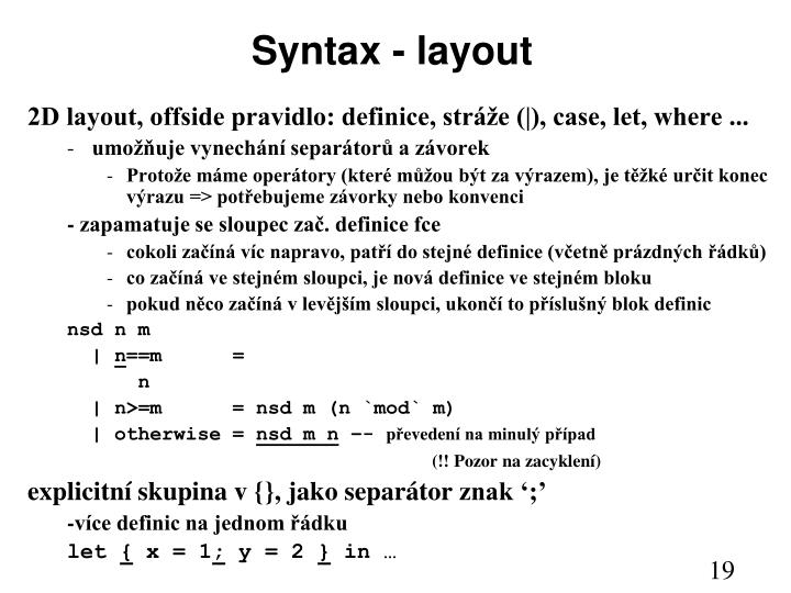 Syntax - layout