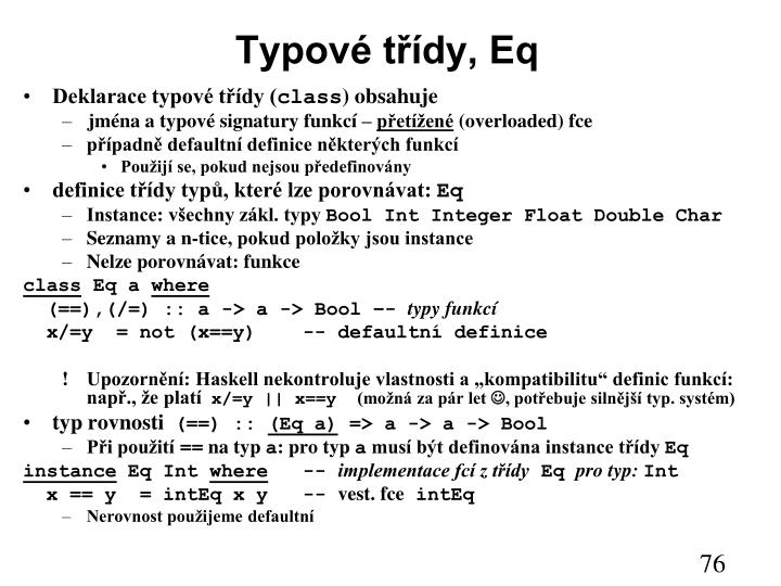 Typové třídy, Eq