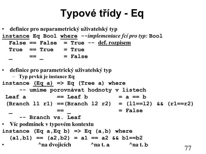 Typové třídy - Eq