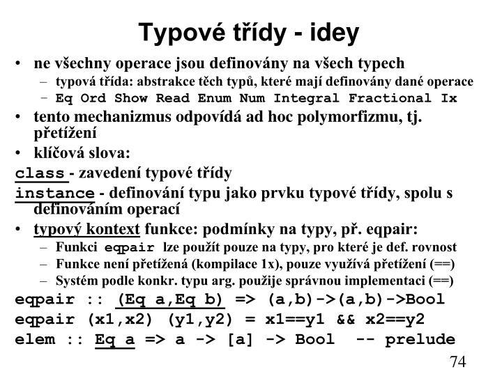 Typové třídy - idey