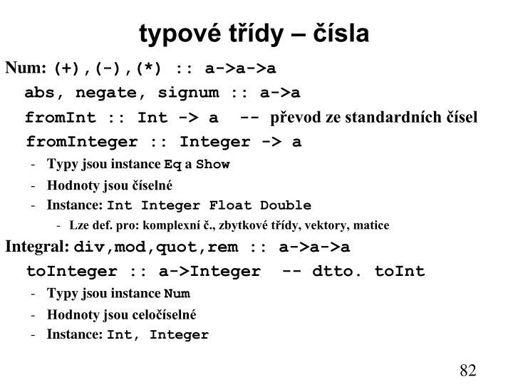 typové třídy – čísla