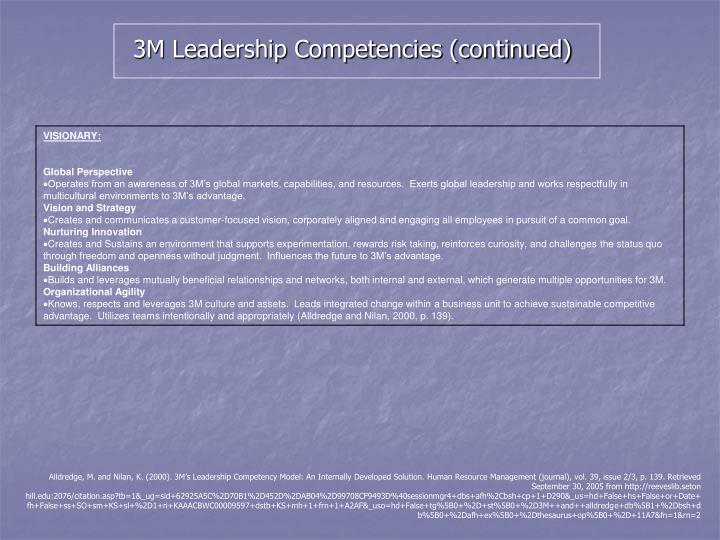 3M Leadership Competencies (continued)