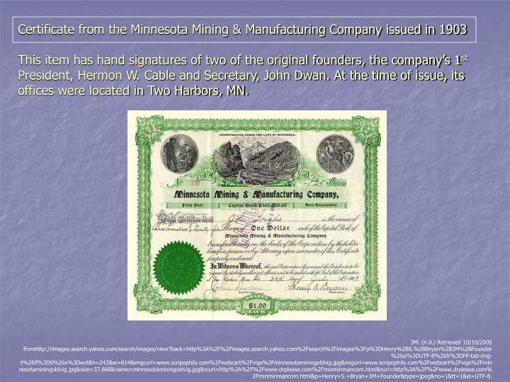 Certificate from the Minnesota Mining & Manufacturing Company issued in 1903