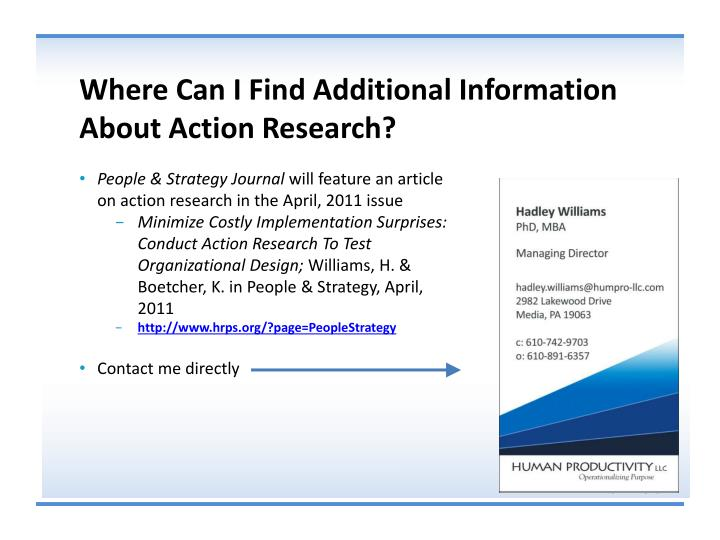 Where Can I Find Additional Information About Action Research?