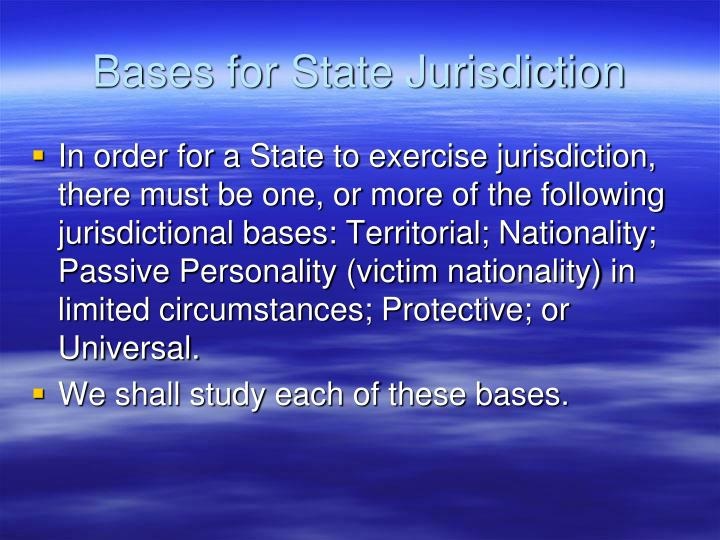 Bases for State Jurisdiction
