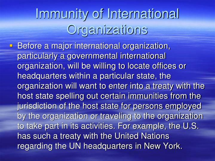 Immunity of International Organizations
