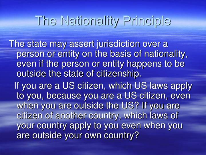 The Nationality Principle