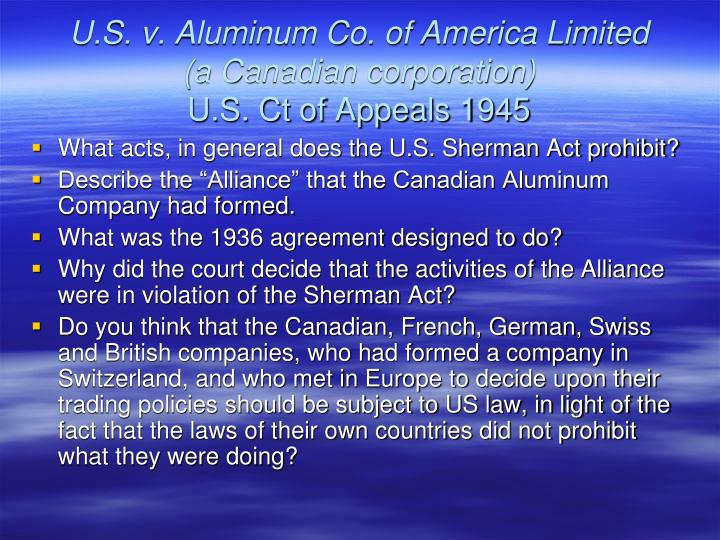U.S. v. Aluminum Co. of America Limited