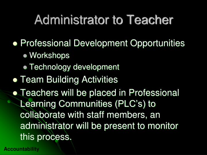 Administrator to Teacher
