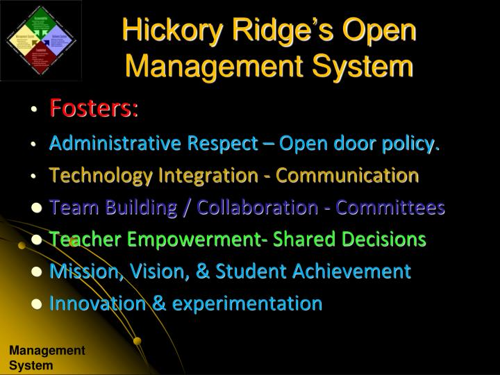 Hickory Ridge's Open Management System
