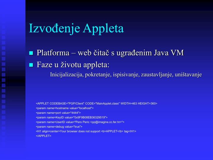 Izvođenje Appleta